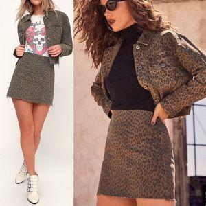 🆕 Pistola Brown Leopard Print Denim Mini Skirt